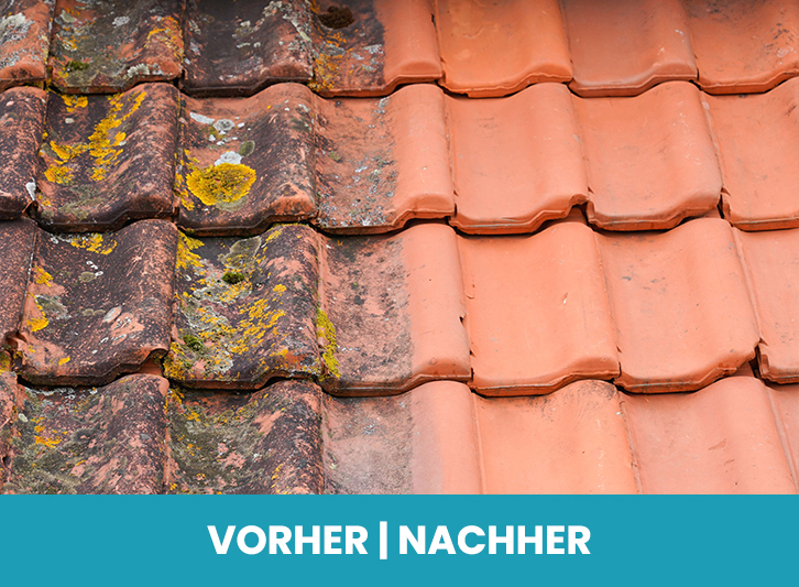 Der Vergleich vor und nach der Dachreinigung in Wiesbaden