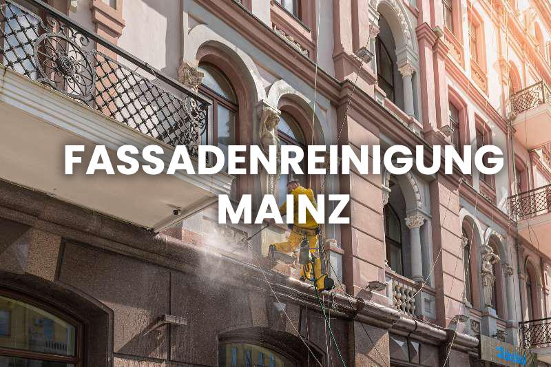 Während der Arbeit bei der Fassadenreinigung in Mainz